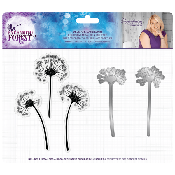 CRAFTERS COMPANION Enchanted Forest DELICATE DANDELION STAMP & DIE 38 x 88mm