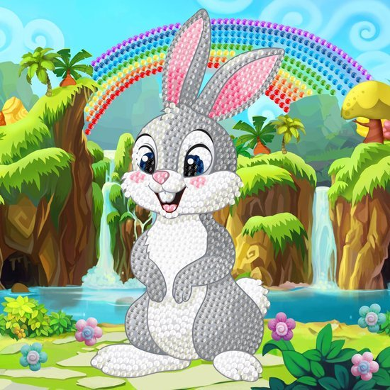 Diamond Painting Crystal Card Kit ® Rabbit Wonderland 18x18 cm, Partial Painting
