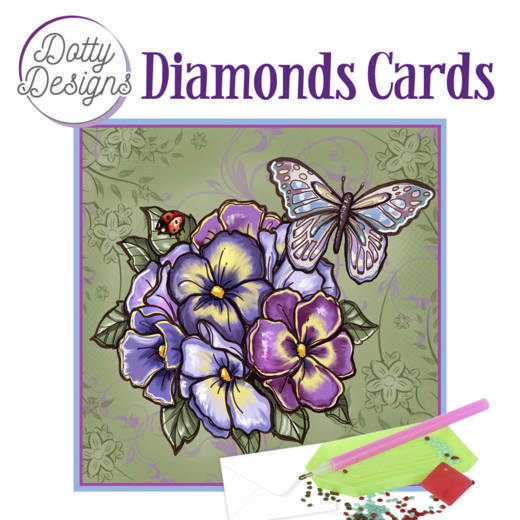 Dotty Designs Diamond Cards - Purple Flowers