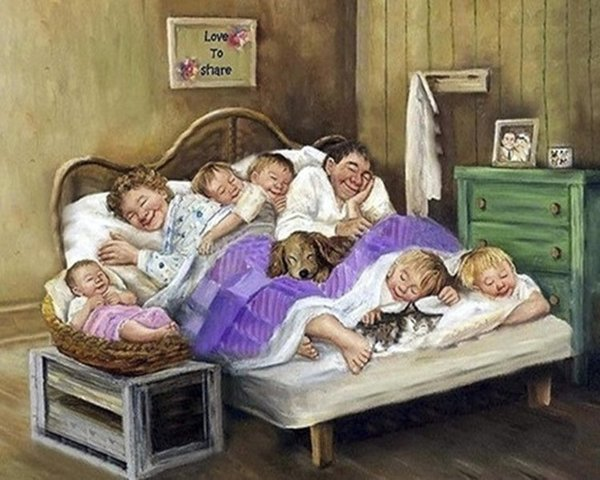 Diamond Painting 40x50 familie bed rond