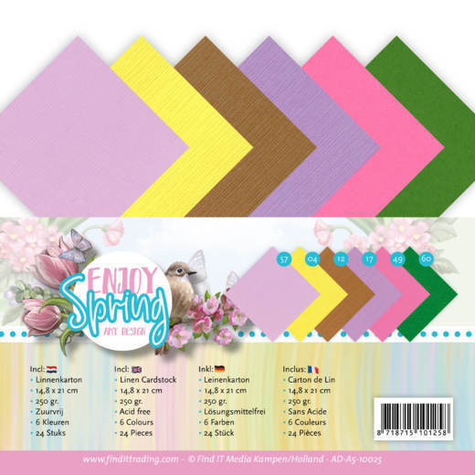 Linen Cardstock Pack - A5 - Amy Design - Enjoy Spring
