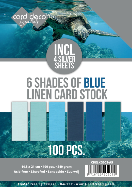 CDELKG003-A56 Shades of blue Linen Card Stock - A5